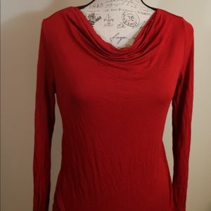 New scoop neck cowl neck long sleeve red soft top